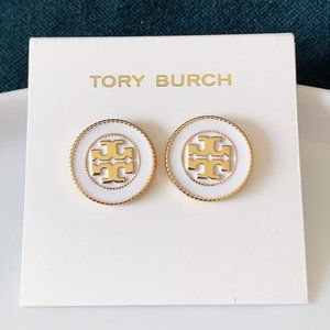 Tory Burch logo gold white earrings